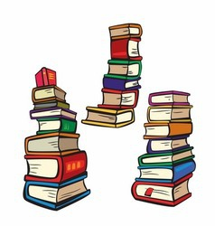 Stack of Books Collection Multicolor vector