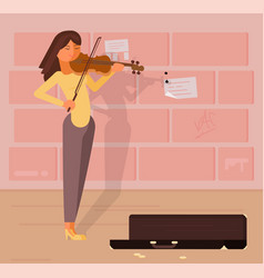 Street musician with violin vector