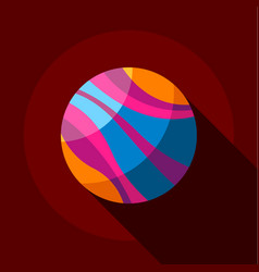 Striped planet icon flat style vector