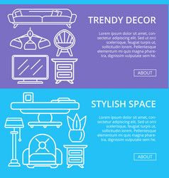 Stylish and cozy home space linear posters vector