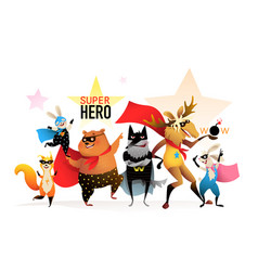 superheroes animals funny costume kids party vector image