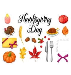 Thanksgiving Day set of object Autumn and holiday vector image