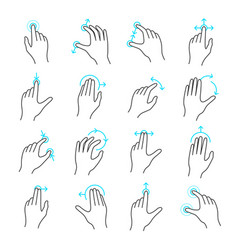 touchscreen gesture icon set vector image