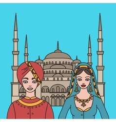 Traditional turkish clothing national middle east vector