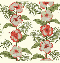 tropical hibiscus fabric seamless composition vector image