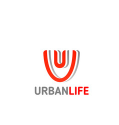 urban life brand letter u icon vector image