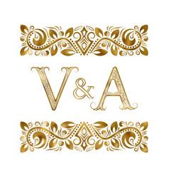 V and a vintage initials logo symbol letters vector