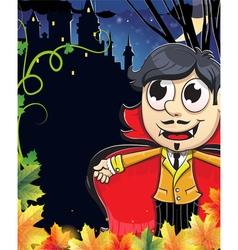Vampire boy near the castle vector