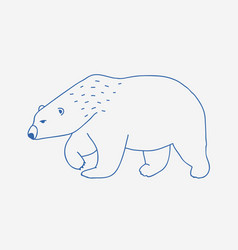 walking or wandering polar bear hand drawn with vector image