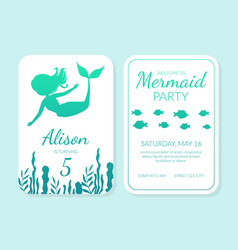 welcome to mermaid party card template vector image