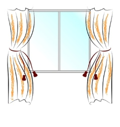 Window and curtains vector