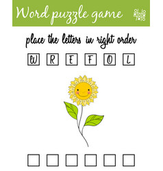 words puzzle game with flower place the letters vector image