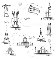 World sights icons set world s most popular vector