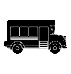 black silhouette school bus with wheels vector image
