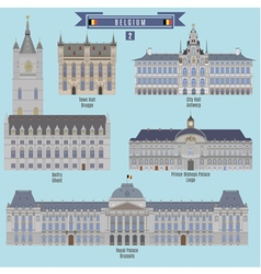 Famous Places in Belgium vector image vector image