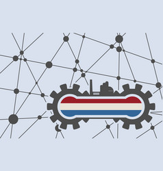 flag of the netherlands build in gear vector image vector image