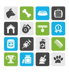 Silhouette Dog and Cynology object icons vector image vector image