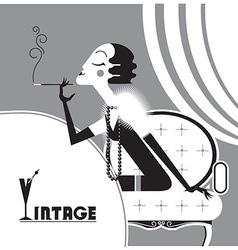 vintage flapper girl with sigaret vector image