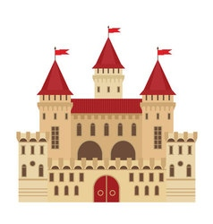 a castle in flat style Medieval stone fortress vector image