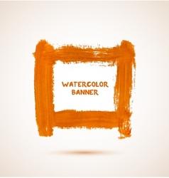 Abstract orange watercolor hand-drawn banner vector image vector image