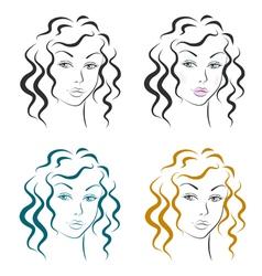 Beautiful woman face design set vector image vector image