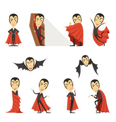 count dracula wearing red cape set of cute vector image vector image