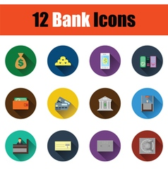 Flat design bank icon set vector image