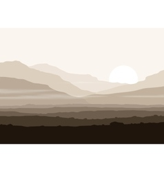 Lifeless landscape with huge mountains over sun vector image
