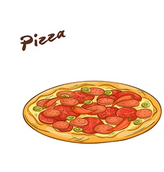 isolated cartoon hand drawn fast food Pizza vector image