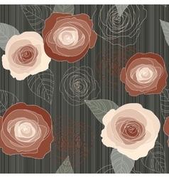 Seamless roses pattern on dark green vector image
