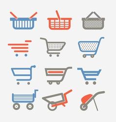 Shopping carts and trolleys vector image