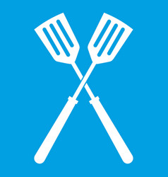 Two metal spatulas icon white vector