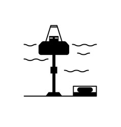 wave energy station silhouette icon in flat style vector image vector image