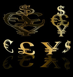 Currency gold background vector image vector image