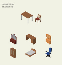 Isometric design set of office drawer table and vector