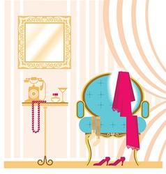 Vintage ladies dressing room interior background vector image vector image