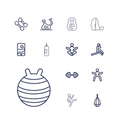 13 gym icons vector