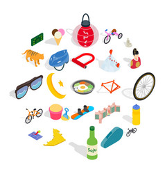 active life icons set isometric style vector image