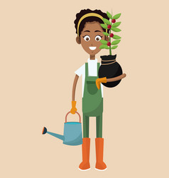 African woman farmer plant and water can vector