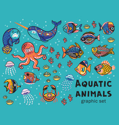 Aquatic animals collection vector