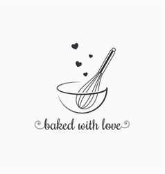 Baking with wire whisk logo on white background vector