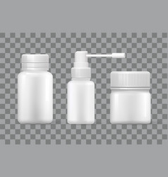 blank medical containers for capsules and sprayer vector image