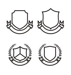 blank shield set line art vector image