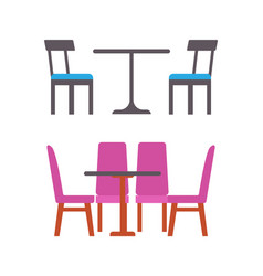 Blue and pink furniture of eatery or restaurant vector