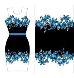 Blue lilies print design for dress vector