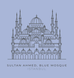 Blue mosque sultan ahmed line art design vector