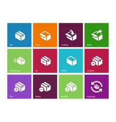 Box icons on color background vector image