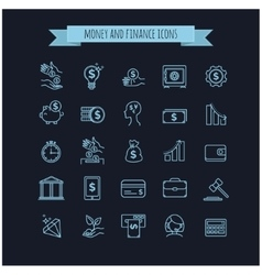 busines money and finance thin line icon set vector image