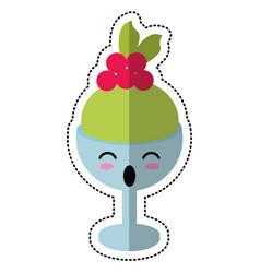 Cartoon glass cup ice cream cherry vector
