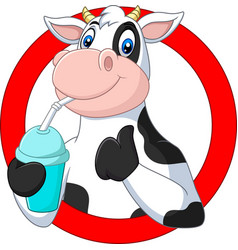 cartoon happy cow drinking water vector image